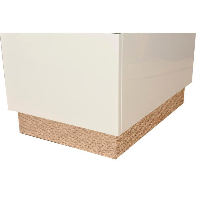 Monumental White Lacquered Wood and Stainless Steel Sculptural Desk For Sale In Miami - Image 6 of 8
