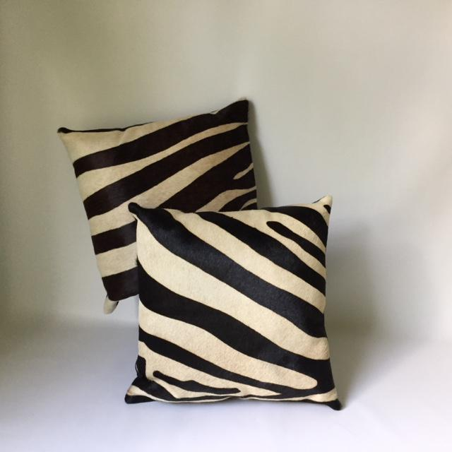 Zebra Printed Hide Pillows - a Pair - Image 2 of 8