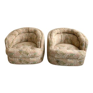 1980s Vintage Oversized Swivel Chairs - A Pair For Sale