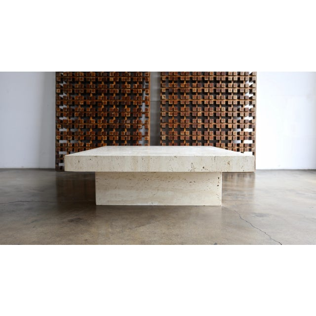Travertine Coffee Table, Circa 1980 For Sale - Image 11 of 13