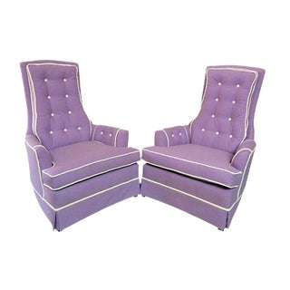 Purple Tufted Armchairs by Broyhill - A Pair