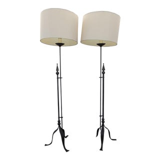 Pair of Tall Spanish Style Metal Floor Lamps W White Lampshades For Sale
