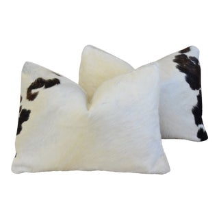"Black & White Cowhide & Linen Feather/Down Pillows 22"" X 16"" - - a Pair For Sale"