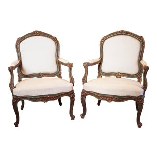 Pair of Fine 19c Rococo Armchairs For Sale
