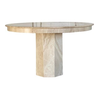1970s Italian Round Travertine Dining or Center Table For Sale