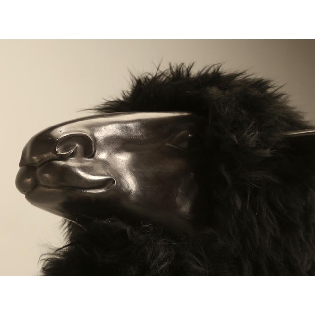 Bronze Black Sheep With Real Fur For Sale - Image 9 of 11