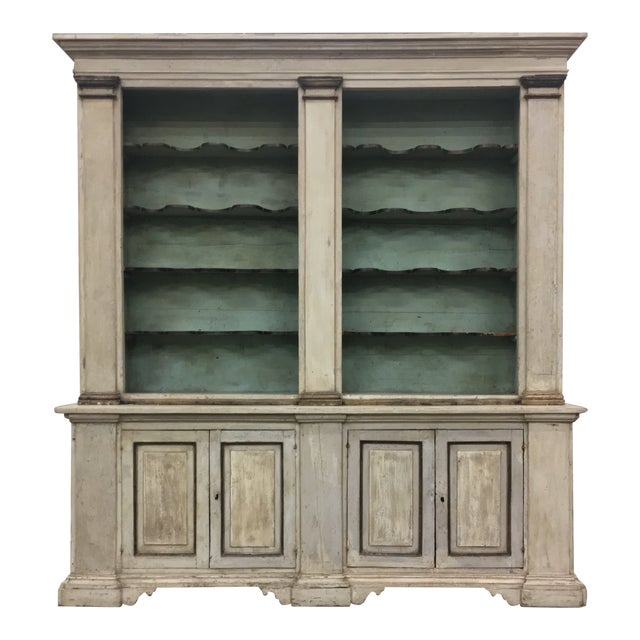 19th Century Italian Tuscan Painted Bookcase Display Cabinet For Sale