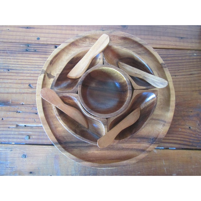 1970s 1970s Mid Century Modern Teak Hors d'Oeuvres Serving Tray - 10 Pieces For Sale - Image 5 of 11