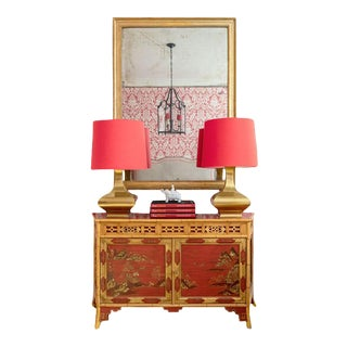 Red Japanned and Bamboo Sideboard by M.Montreau For Sale