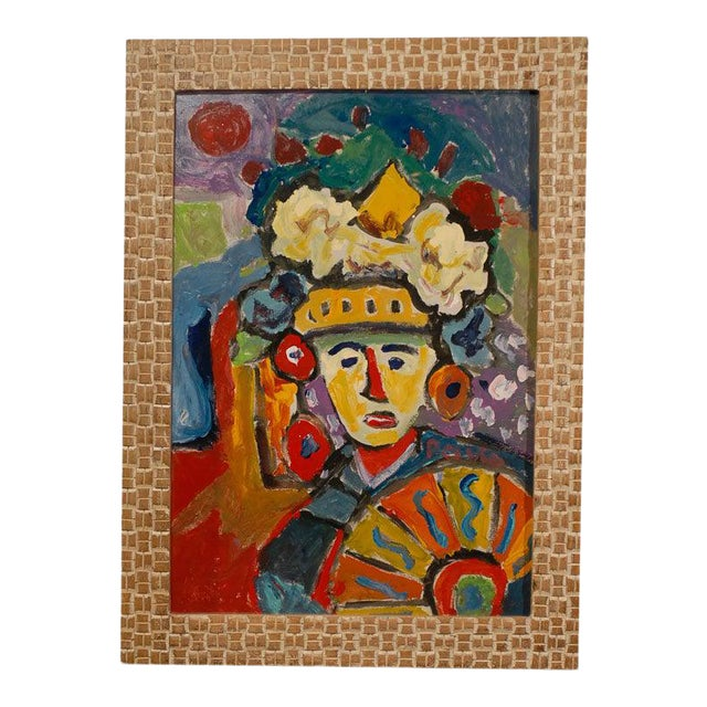 Fauvist Oil on Board Abstract Painting by Hungarian Artist Miklos Nemeth For Sale
