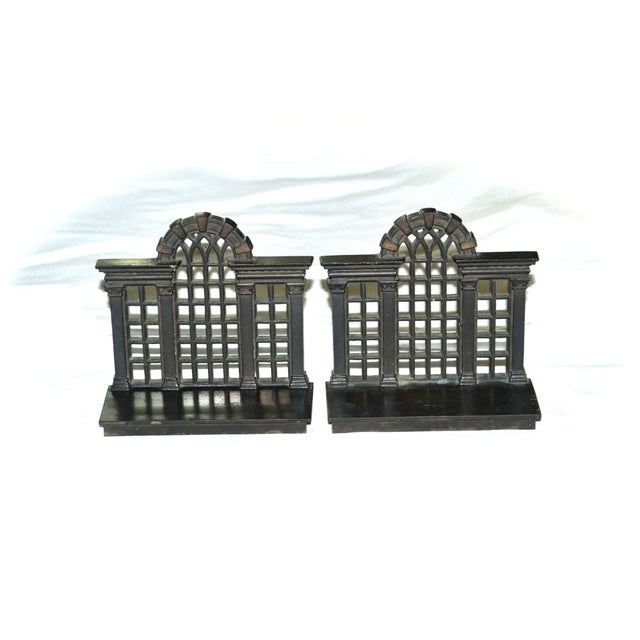 1920s Antique Bradley & Hubbard Trellis Bookends - a Pair For Sale - Image 11 of 11
