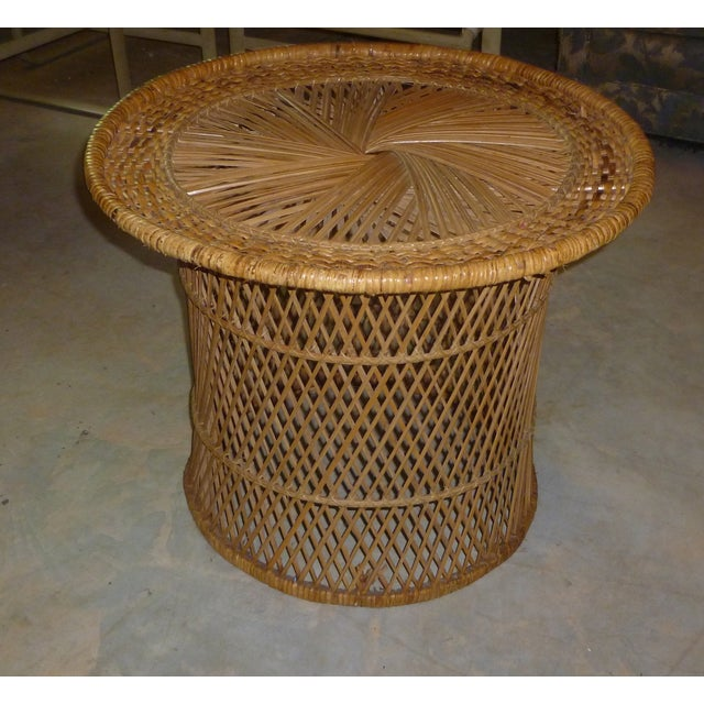 MCM Rattan Wicker Woven Round Side Table - Image 8 of 11