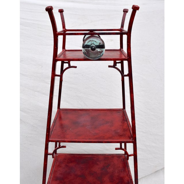 Contemporary Iron Chinoiserie Pagoda Etagere by Palecek For Sale - Image 3 of 9