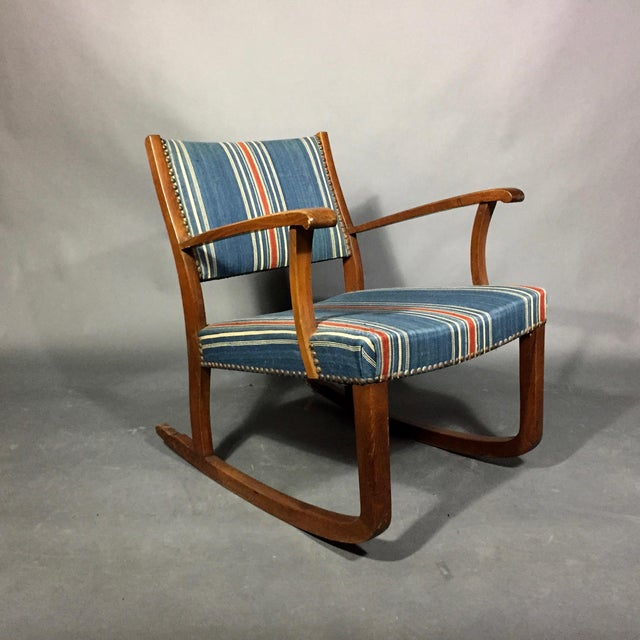 Mid-Century Modern 1940s Danish Rocking Chair, Oak and Wool Stripe For Sale - Image 3 of 12