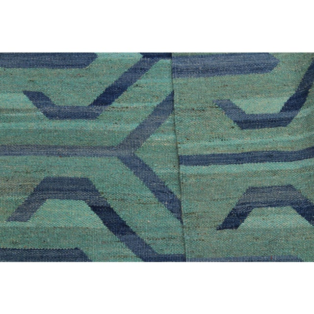 Textile Tribal Kilim Angeliqu Green/Blue Hand-Woven Wool Rug - 3'2 X 4'11 For Sale - Image 7 of 8