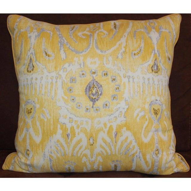 Yellow Ikat Throw Pillows - A Pair - Image 2 of 6