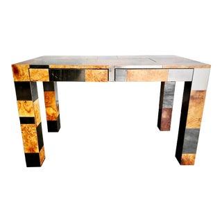 Paul Evans Cityscape Burl Wood Brutalist Desk Signed, 1970s For Sale