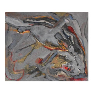 Jack Freeman Abstract Expressionist Study in Gray Acrylic, Circa 1960s