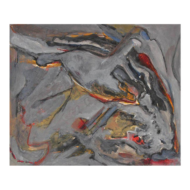 Jack Freeman Abstract Expressionist Study in Gray Acrylic, Circa 1960s For Sale
