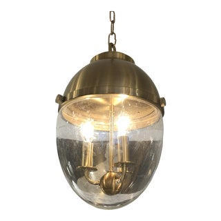 Brass & Glass Egg Shaped Pendant Chandelier For Sale