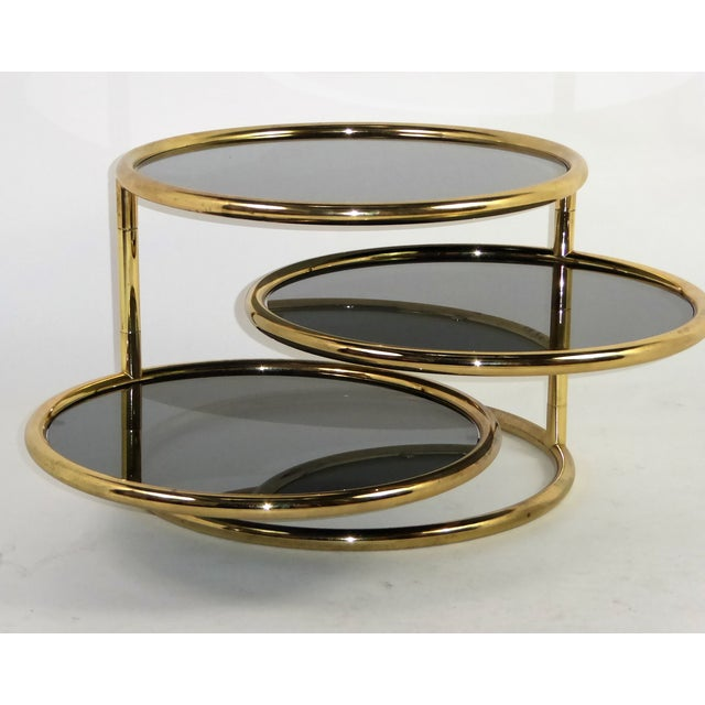 1970s 1970s Three Tier Brass With Smoked Glass Coffee Table For Sale - Image 5 of 12