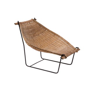 John Risley Wicker and Iron Chaise For Sale
