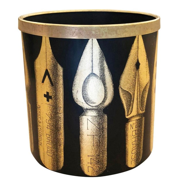 "Metal Piero Fornasetti ""Pennini"" Bin For Sale - Image 7 of 7"