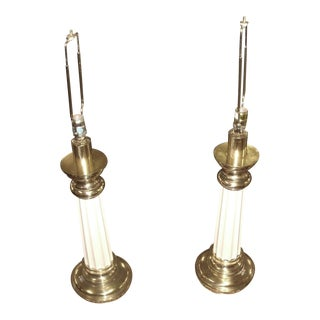 Stiffel Brass & Enamel Table Lamps - a Pair For Sale