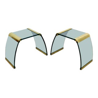Mid Century Modern Pace Waterfall Side End Tables Brass & Glass 1970s - a Pair For Sale
