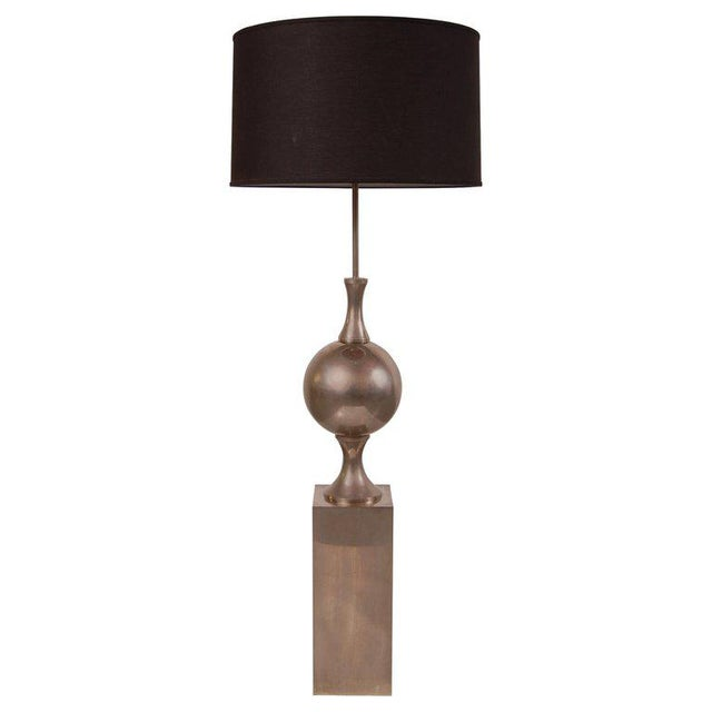 Philippe Barbier Nickel Plated Floor Lamp From Paris For Sale - Image 12 of 12