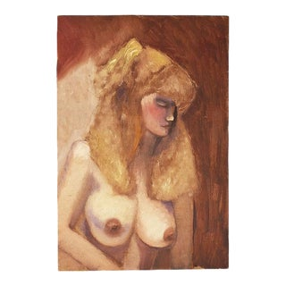 "Original Clair Seglem Tall Portrait Painting of a Nude Blonde Woman 12"" X 18"" For Sale"