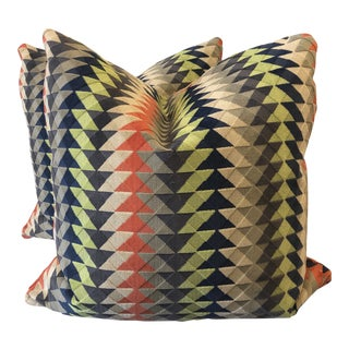 "Robert Allen ""Cairo Bazaar"" in Smoke 22"" Pillows-A Pair For Sale"
