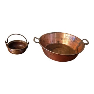 Old School Hammered Copper Open Pots / Pans - a Pair For Sale