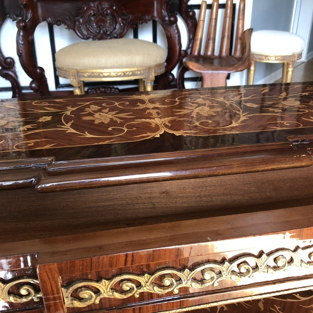 Wooden Inlay Marquetry Petite Console Table With Brass Feet** For Sale - Image 11 of 13