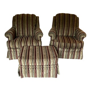 Ethan Allen Albert Striped Chairs & Ottoman - Set of 3 For Sale