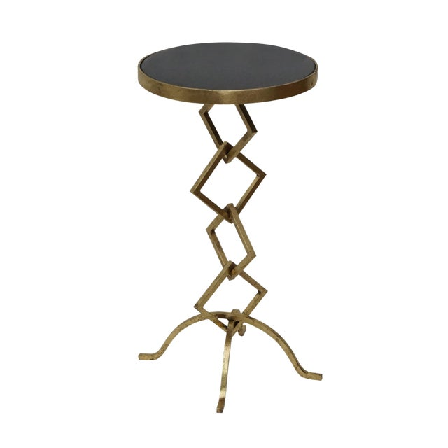 Flynn Contemporary Granite Top Side Table For Sale