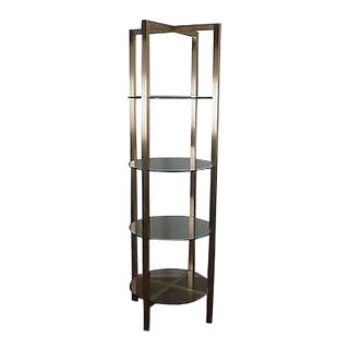 Quality Brushed Brass Finish Aluminum Etagere W/ Glass Shelves For Sale