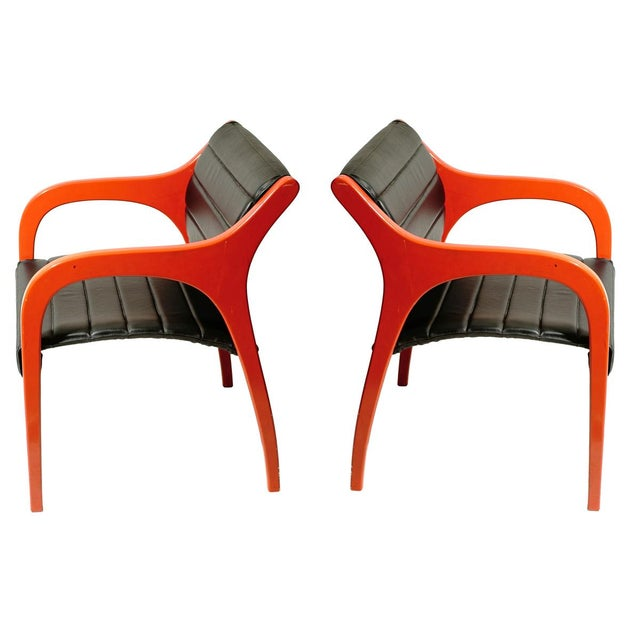 1960s Claudio Salocchi Leather Armchairs - A Pair For Sale - Image 5 of 5