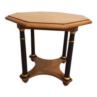 Baker Furniture Octagonal Side Table With Burl Top and Black Columns With Gold Trim For Sale