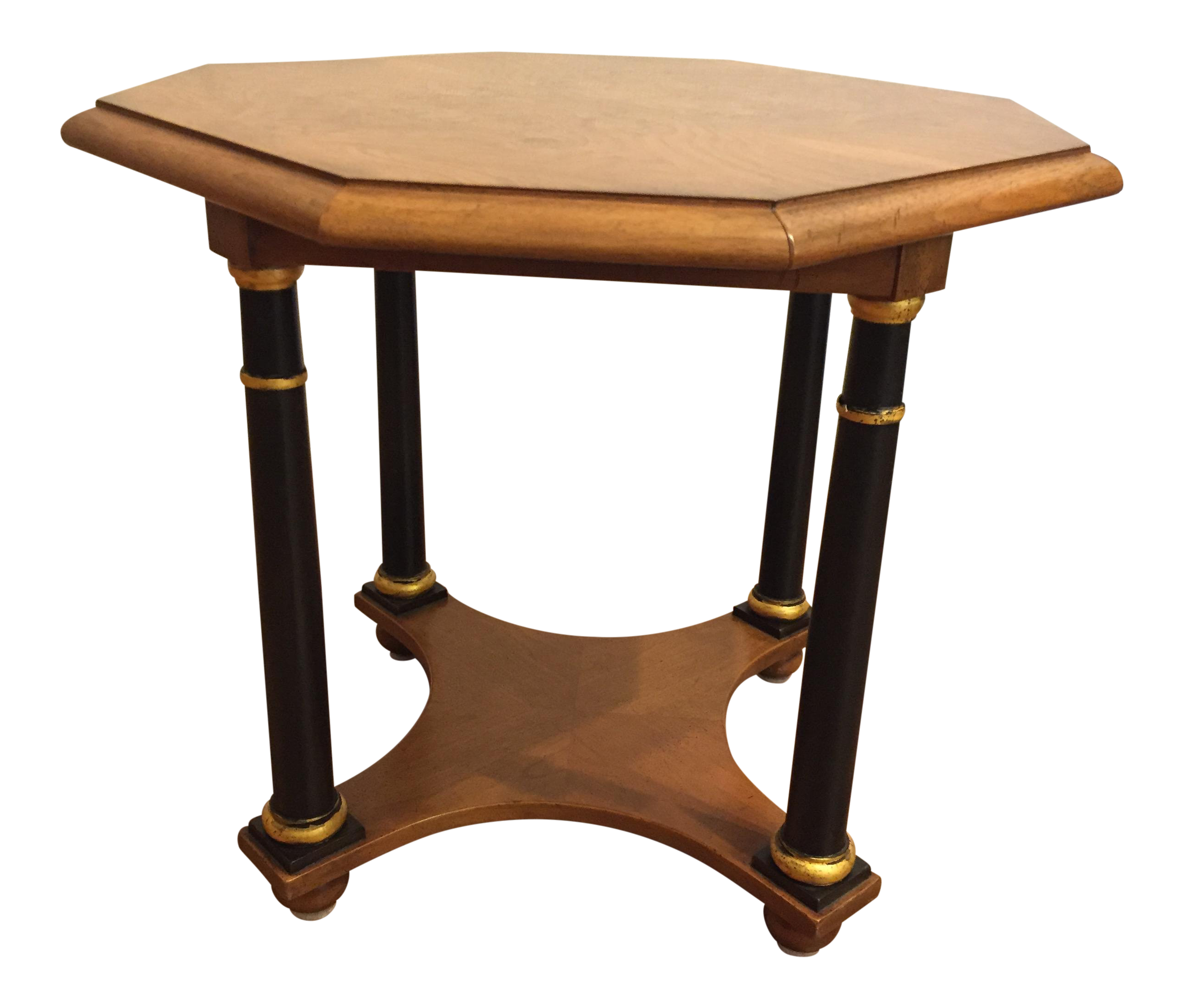 Delicieux Baker Furniture Octagonal Side Table With Burl Top And Black Columns With  Gold Trim For Sale