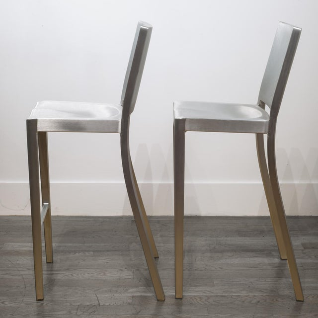 Modern Set of 4 Emeco Hudson Counter Stools by Philippe Starck For Sale - Image 3 of 10