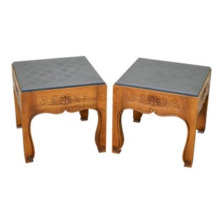 Drexel Heritage Vintage French Country Style Square Slate Top Low Tables - a Pair