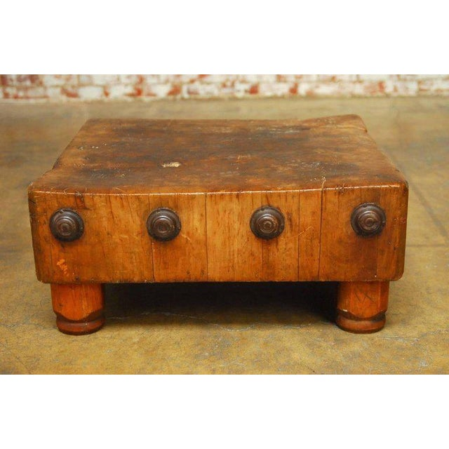 Rustic Michigan Maple Wood-Welded Table Top Butcher Block For Sale - Image 3 of 10