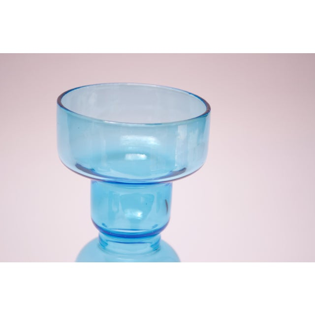 Scandinavian Modern Turquoise Blown Glass Hooped Vase For Sale In New York - Image 6 of 9