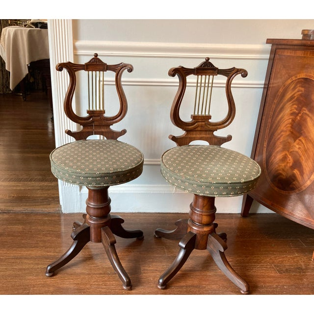 Antique Regency Lyre Back Rosewood Scottish Piano Chairs, Adjustable Height - a Pair For Sale - Image 13 of 13