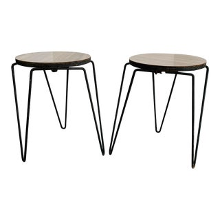 Knoll Style - Inco Products Stacking Stools Tables- Mid Century Iron Hairpin Stool Tables- a Pair For Sale
