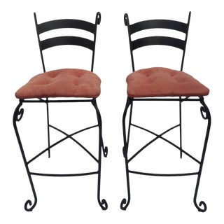Wrought Iron Bar Stool Chairs - a Pair For Sale