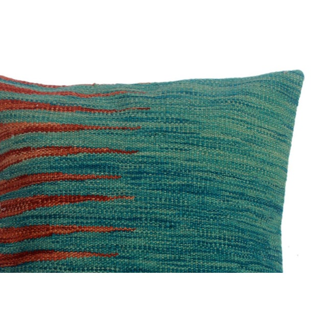 """Desmond Blue/Rust Hand-Woven Kilim Throw Pillow(18""""x18"""") For Sale - Image 4 of 6"""