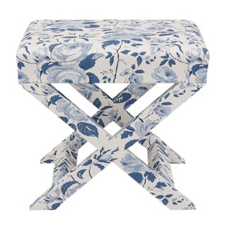 X Bench in Delft Chintz For Sale