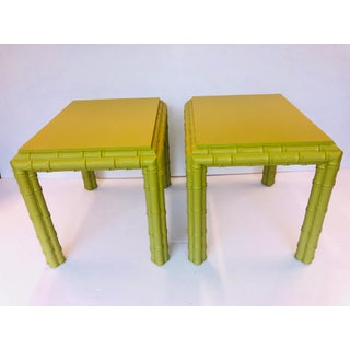 Vintage Chippendale Faux Bamboo Side Tables - a Pair Preview